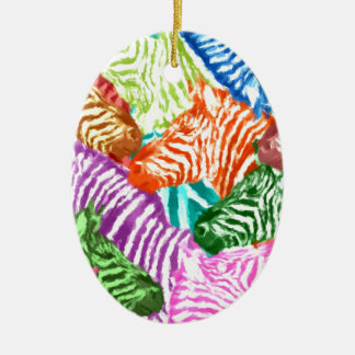 Bunte Zebra-Herden-Collage Ovales Keramik Ornament