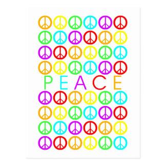 Bunte Zeichen des FRIEDENS w/peace Postkarte