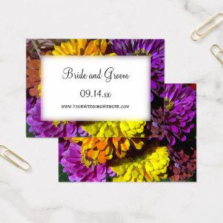 Bunte Zinnia-Blumen, die Website-Karten Wedding Visitenkarte