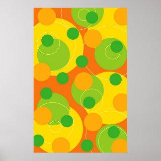 Bunte Zitrusfrucht-punktiert Limoner sprudelnder Poster