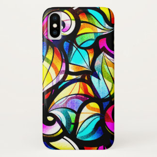 Bunter abstrakter beflecktes Glas-Entwurf iPhone X Hülle