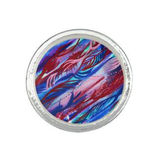 Bunter abstrakter Blattwatercolor-Ring Foto Ringe