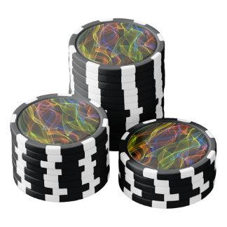 Bunter abstrakter Rauch auf schwarzem Hintergrund Poker Chips