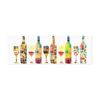 Bunter abstrakter Watercolor der Flaschen u. der Leinwanddruck
