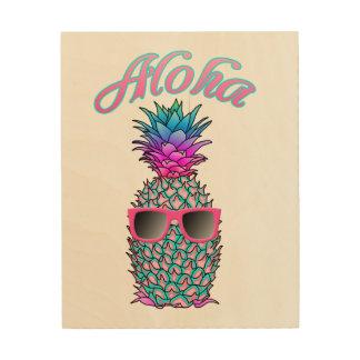 Bunter Ananas-Hawaiianer Aloha Holzdruck