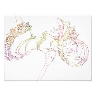 Bunter Anime Popstar geerntet - weißer Hintergrund Photo