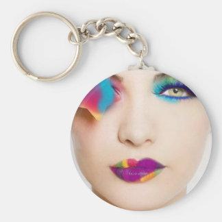 Bunter Augenschatten des Hipster-Mädchens mit Süßi Standard Runder Schlüsselanhänger
