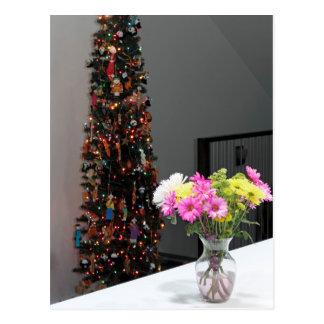 Bunter Blumen-Blumenstrauß und Weihnachtsbaum Postkarten