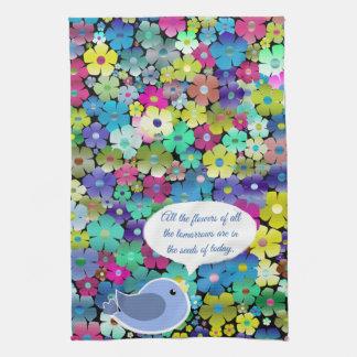 Bunter Blumenfrühling und Sommer-Blumen u. Handtuch