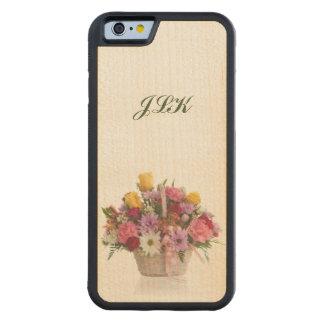 Bunter Blumenstrauß in einem Korb, Monogramm Bumper iPhone 6 Hülle Ahorn