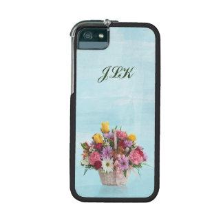 Bunter Blumenstrauß in einem Korb, Monogramm Hülle Für iPhone 5S
