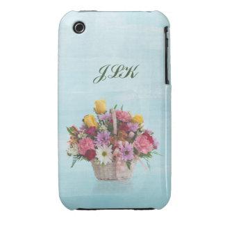 Bunter Blumenstrauß in einem Korb, Monogramm iPhone 3 Hüllen