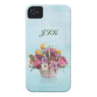 Bunter Blumenstrauß in einem Korb, Monogramm iPhone 4 Hülle