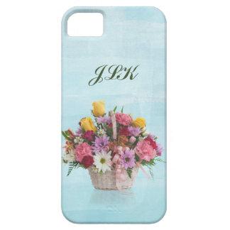 Bunter Blumenstrauß in einem Korb, Monogramm Hülle Fürs iPhone 5