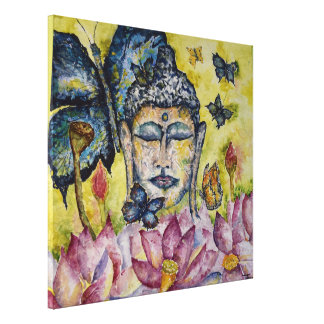 Bunter Buddhawatercolor-Leinwand-Druck Leinwanddruck