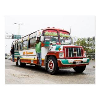 Bunter Bus in Cartagena Postkarte