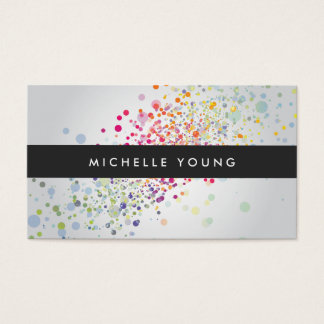 Bunter Confetti Bokeh auf grauem modernem Visitenkarten
