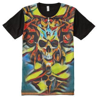 Bunter Dämon-Schädel-Acrylfarbe T-Shirt Mit Bedruckbarer Vorderseite