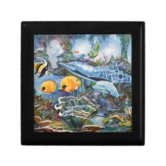 Bunter Delphin und tropische Fische Geschenkbox