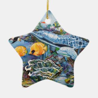 Bunter Delphin und tropische Fische Keramik Stern-Ornament