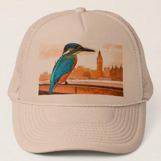 Bunter Eisvogel-Vogel mit London-Skylinen Truckerkappe