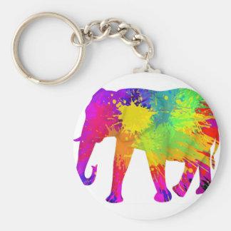 Bunter Elefant-Entwurf Standard Runder Schlüsselanhänger