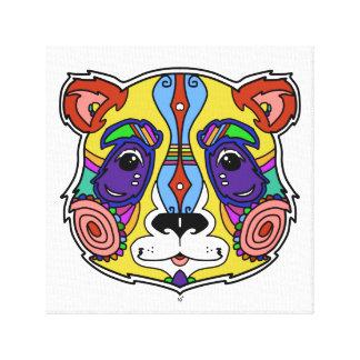Bunter Entwurf der psychedelischen Pandagrafik Leinwanddruck