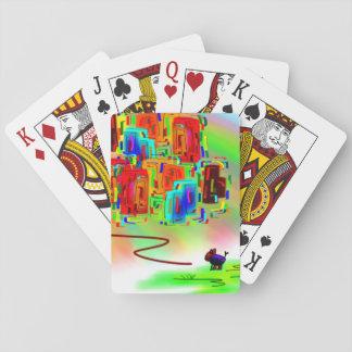 bunter Esel betrachtet Stadt Pokerkarte
