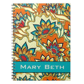 Bunter Fall-mit Blumenpersonalisiertes Notizbuch