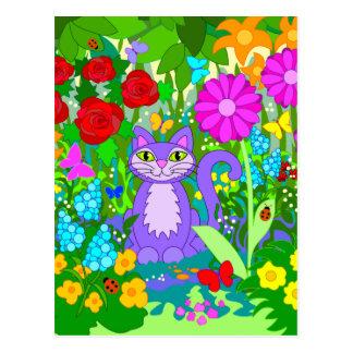Bunter Fantasie-Garten-lächelnde Postkarte