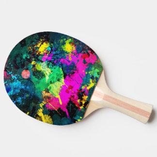 bunter Farben-Spritzer Tischtennis Schläger