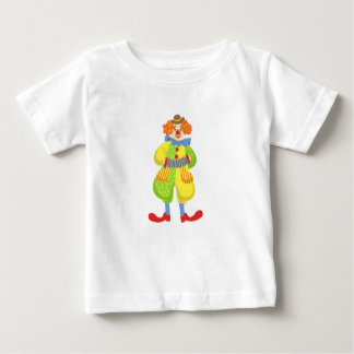 Bunter freundlicher Clown, der Akkordeon in der Baby T-shirt