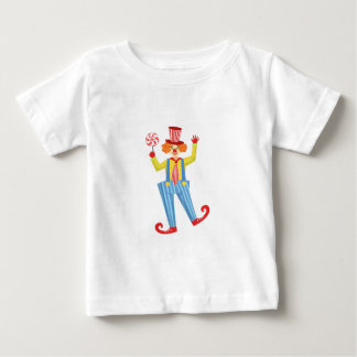 Bunter freundlicher Clown mit Lollypop in Baby T-shirt