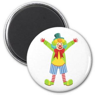 Bunter freundlicher Clown mit Mehrfarben Runder Magnet 5,7 Cm