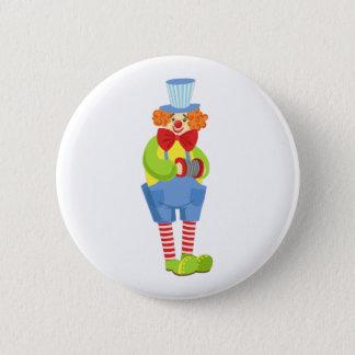 Bunter freundlicher Clown mit Miniaturakkordeon I Runder Button 5,7 Cm