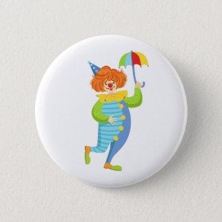 Bunter freundlicher Clown mit Miniregenschirm Runder Button 5,7 Cm