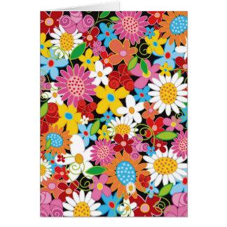 Bunter Frühlings-Blumen-Garten-kundenspezifische Karte