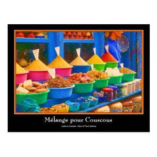 Bunter Gewürz-Markt in Marrakesch Marokko Postkarte