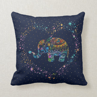Bunter Glitter-Elefant u. Herz-Illustration Kissen
