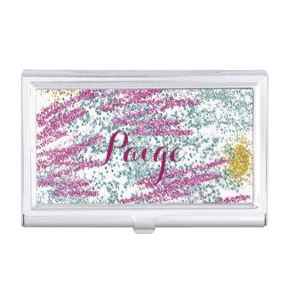 Bunter Glitter gespritztes personalisiertes Visitenkarten Dose