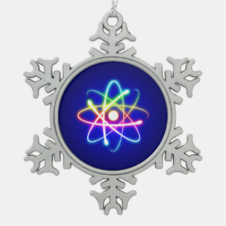 Bunter Glühen-Atom-Nerd Schneeflocken Zinn-Ornament