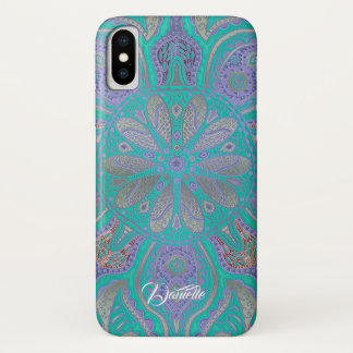 Bunter grüner lila GoldMandala iPhone X Kasten