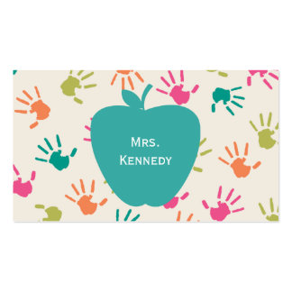 Bunter Handprints Lehrer Türkis-Apples Visitenkarte