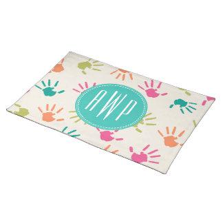 Bunter Handprints Monogramm-Lehrer Tischsets