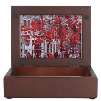 Bunter heißer roter Vintager Baum-Andenken-Kasten Erinnerungsdose