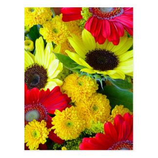 Bunter Herbst-Blumenstrauß Postkarte