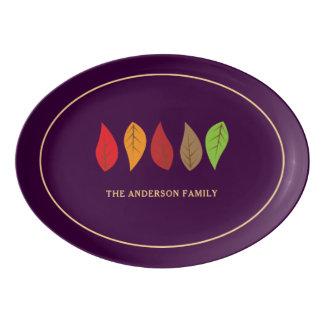 Bunter Herbstlaub-dunkler lila Erntedank Porzellan Servierplatte