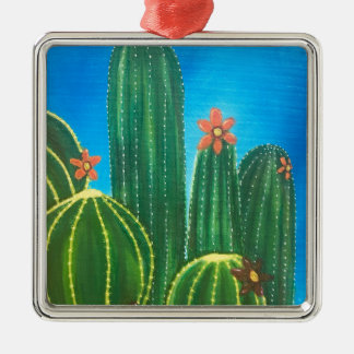 Bunter Kaktus Silbernes Ornament