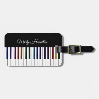Bunter Klavier-Tastatur-personalisierter Kofferanhänger