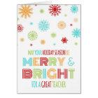 Bunter Lehrer-fröhliche u. helle Weihnachtskarte Karte